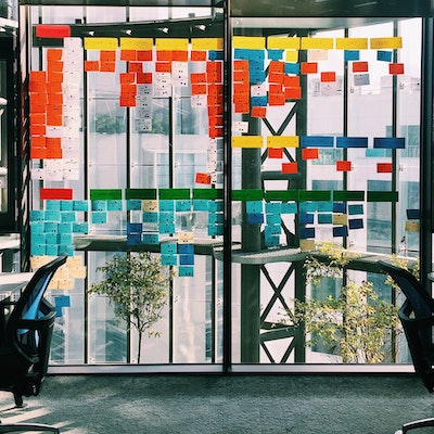 post-it notes in a workplace