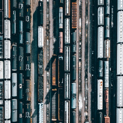 train cars in a train yard